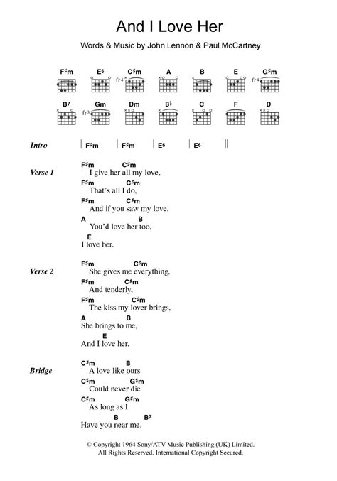 And I Love Her Sheet Music | The Beatles | Guitar Chords