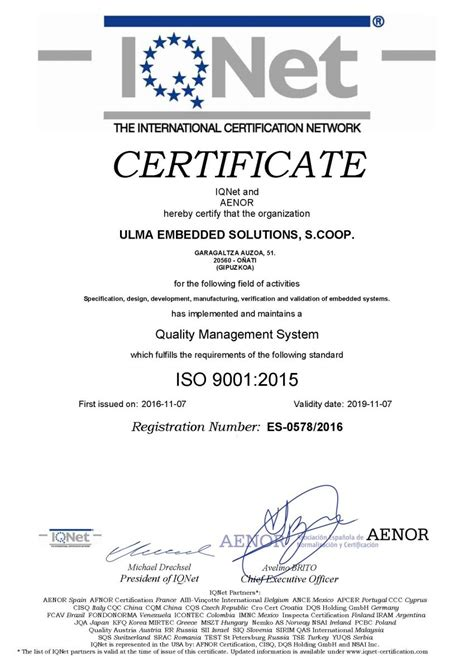 ULMA Embedded Solutions certifications