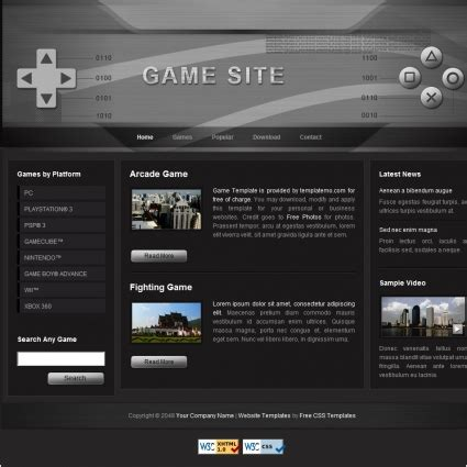 game Free website templates in css, html, js format for