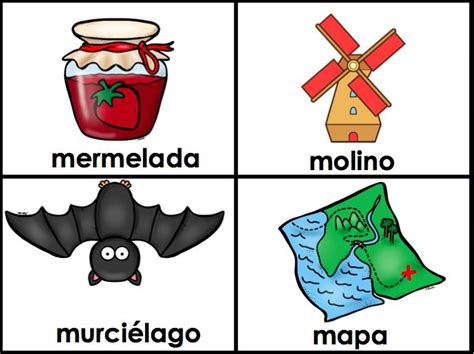 Flashcards for M Words - Spanish Alphabet - palabras con M