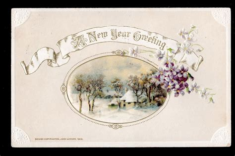 1913 Winsch Emb Country Home Winter Scene Violets New Year
