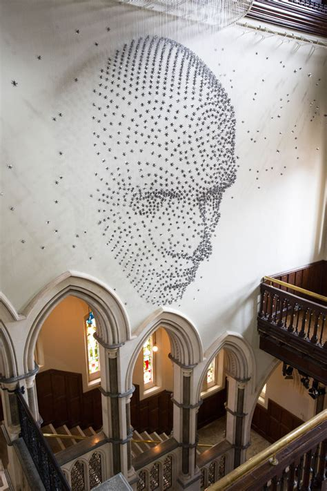 This artist created a 3D human face from 2000 suspended