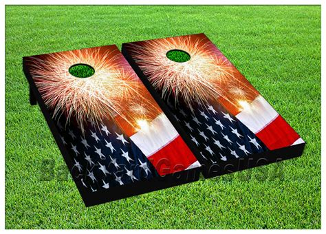 Patriotic CORNHOLE BEANBAG TOSS GAME w Bags Game Boards