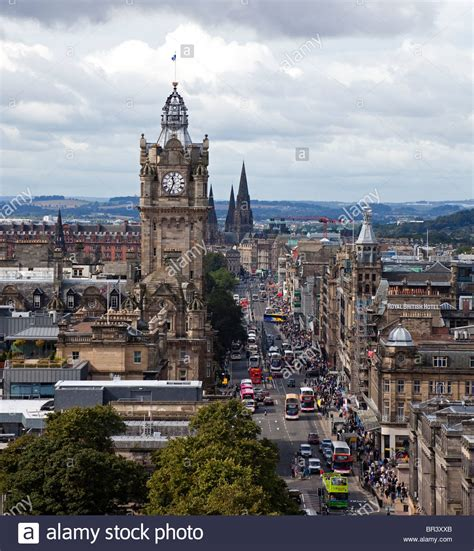 View of Princes Street, Edinburgh with busy traffic, from