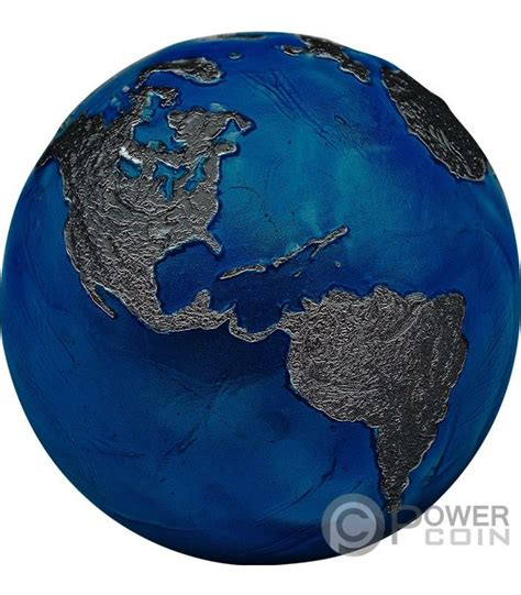BLUE MARBLE AT NIGHT Planet Earth Spherical 3 Oz Silver